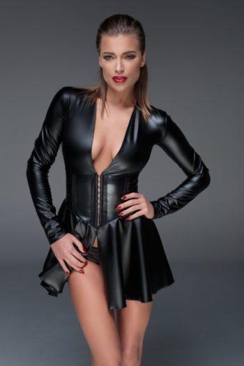 mini-robe-corset-fetish-wetlook-noir-handmade Piment Plume