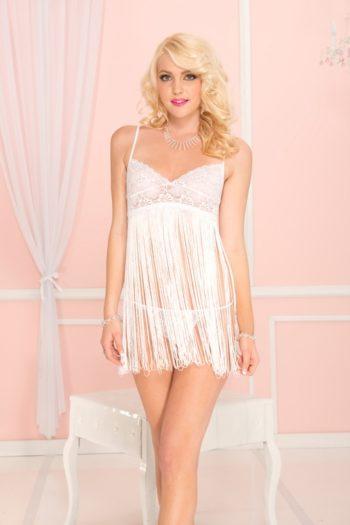 Mini robe blanche Cabaret sexy