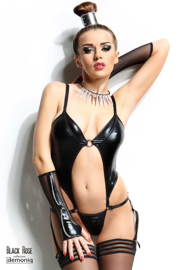 Body Nadine et gants - Black Rose par demoniq loveshop belgique
