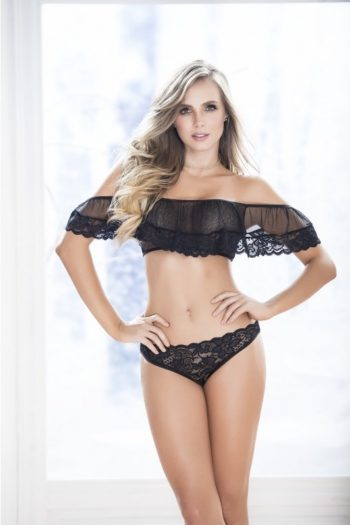 Ensemble lingerie femme 2 pièces noires boutique de charme belge