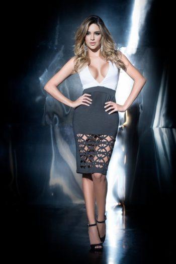 robe-mi-longue-noir-and-blanc boutique belgique mode tenue soirée sexy