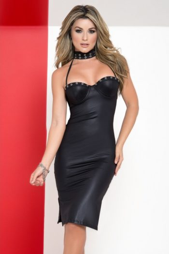 robe-cocktail-fendue-noire-bustier-armatures-bretelles-amovibles-tour-de-cou boutique sexy belgique