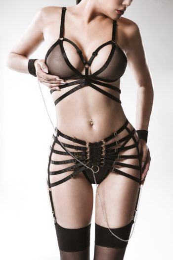 ensemble bdsm sexy harnais boutique oveshop belgique france grey velvet