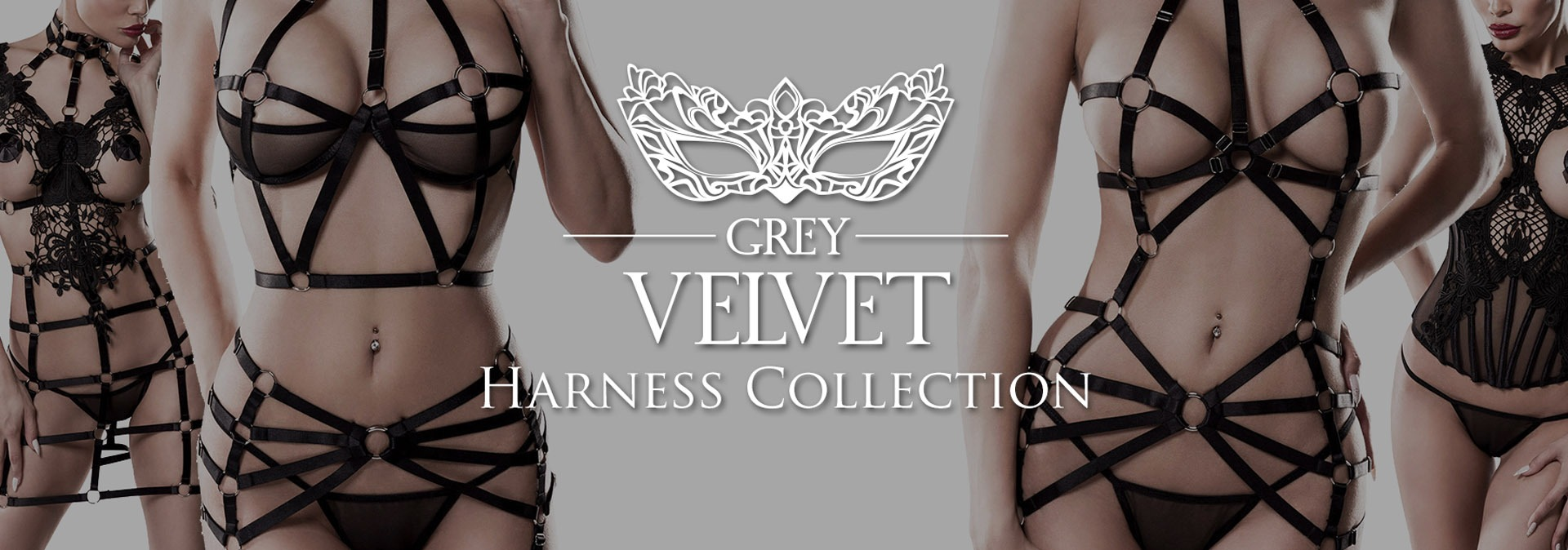 Grey Velvet lingerie banner piment plume boutique Belgique sexy