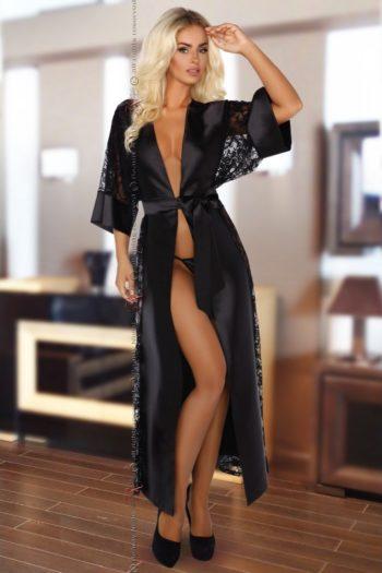 Peignoir Satin Noir & String lingerie Beauty Night