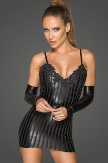 robe noire laquée wetlook sexy avec broderie boutiue ode belgique noir handmade