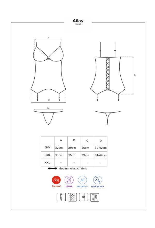 Sublime corset avec une dentelle noire exceptionelle et son string assorti. Il mettra en valeur les belles courbes de votre corps !