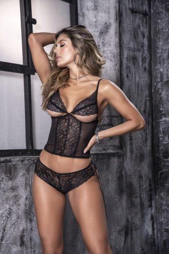 ensemble-2-pieces-dentelle-noire-avec-caraco-mapalé boutique belgique lingerie sexy pour femme