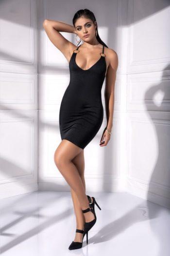 robe-noir-matiere-opaque-avec-anneaux-mal4536blk