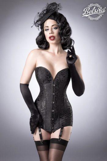 lingerie corset et culotte noire de la boutique de lingerie Piment Plume en belgique