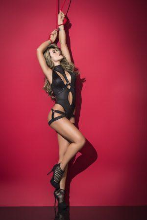 Grossiste dropshipping lingerie : body noir avec harnais